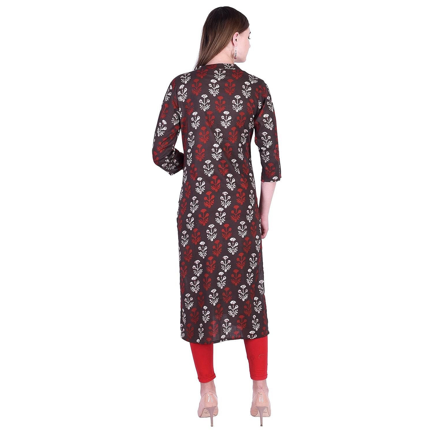 Pooja Fashion - Brown Colored Casual Floral Printed Cotton Kurti