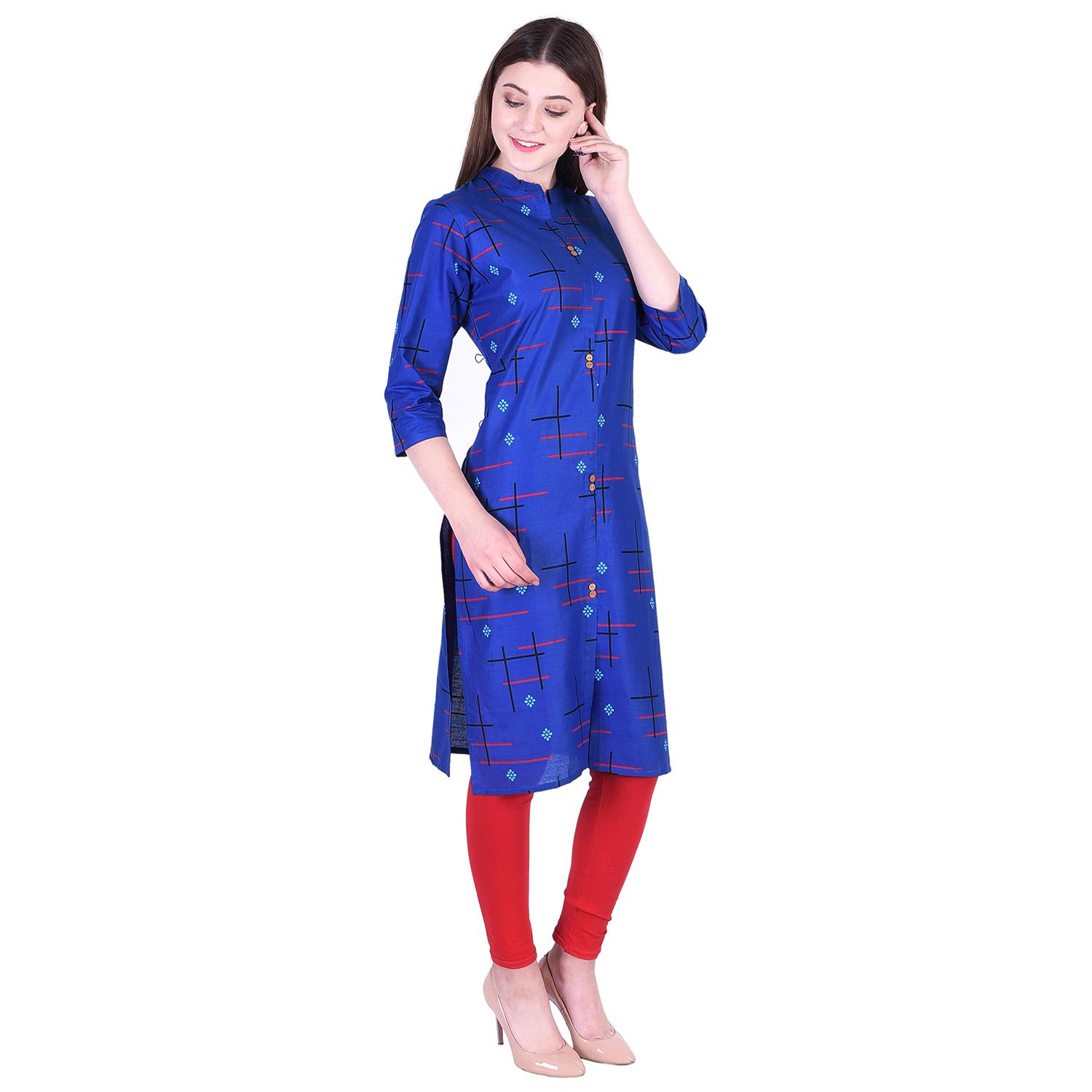 Pooja Fashion - Blue Colored Casual Printed Cotton Kurti