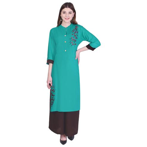 Pooja Fashion - Sea Green Colored Casual Embroidered Cotton Kurti