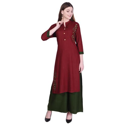 Pooja Fashion - Maroon Colored Casual Embroidered Cotton Kurti