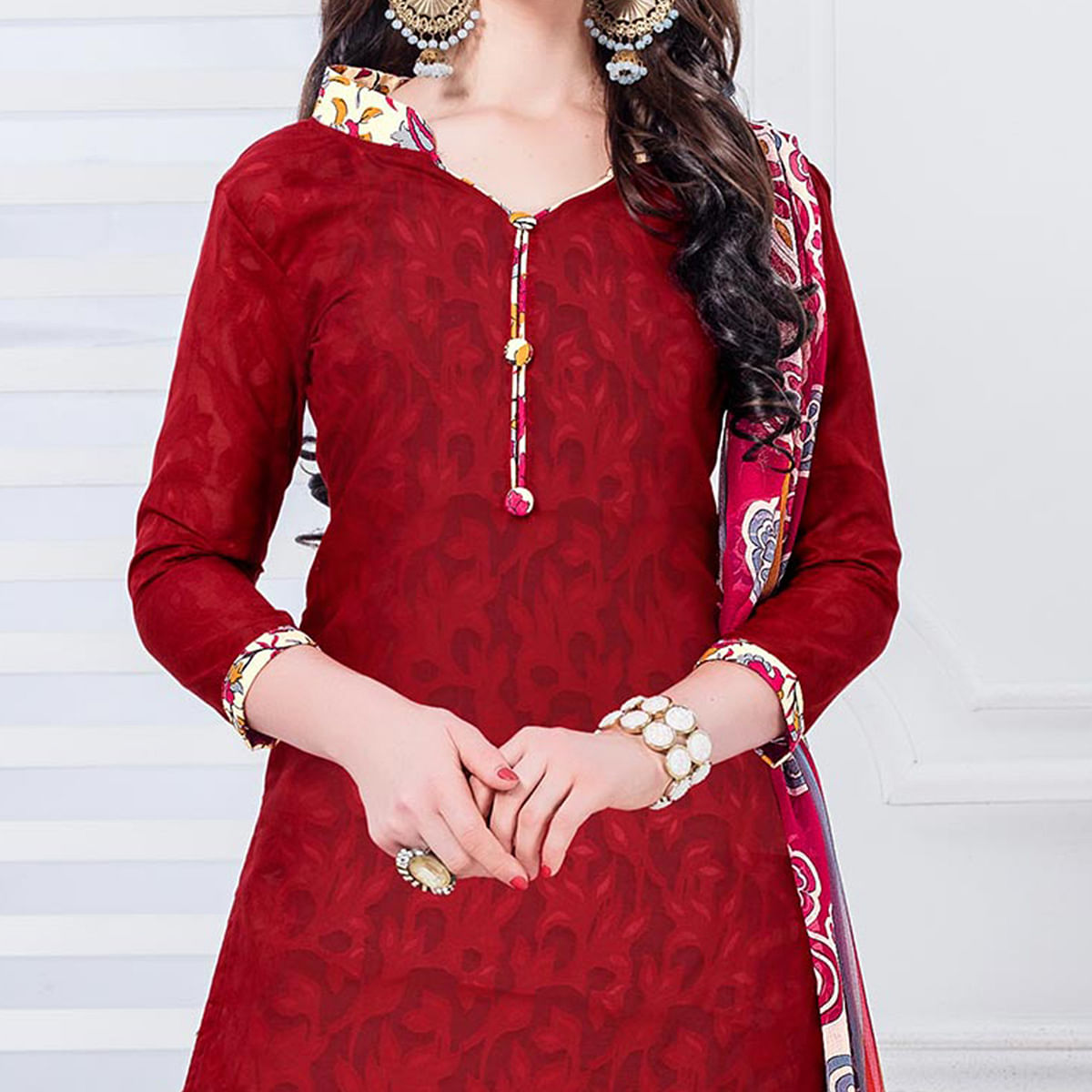 Red-Cream Casual Printed Cotton Blend Salwar Suit