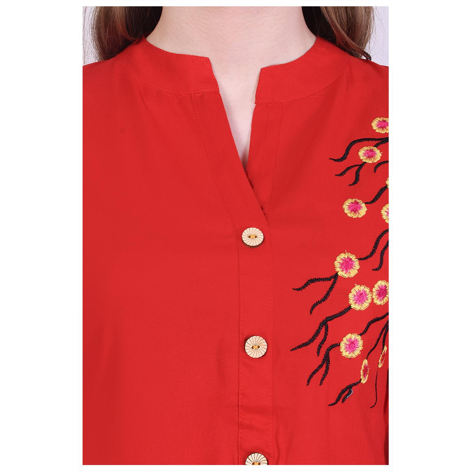 Pooja Fashion - Red Colored Casual Embroidered Cotton Kurti
