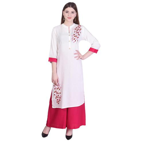 Pooja Fashion - White Colored Casual Embroidered Cotton Kurti