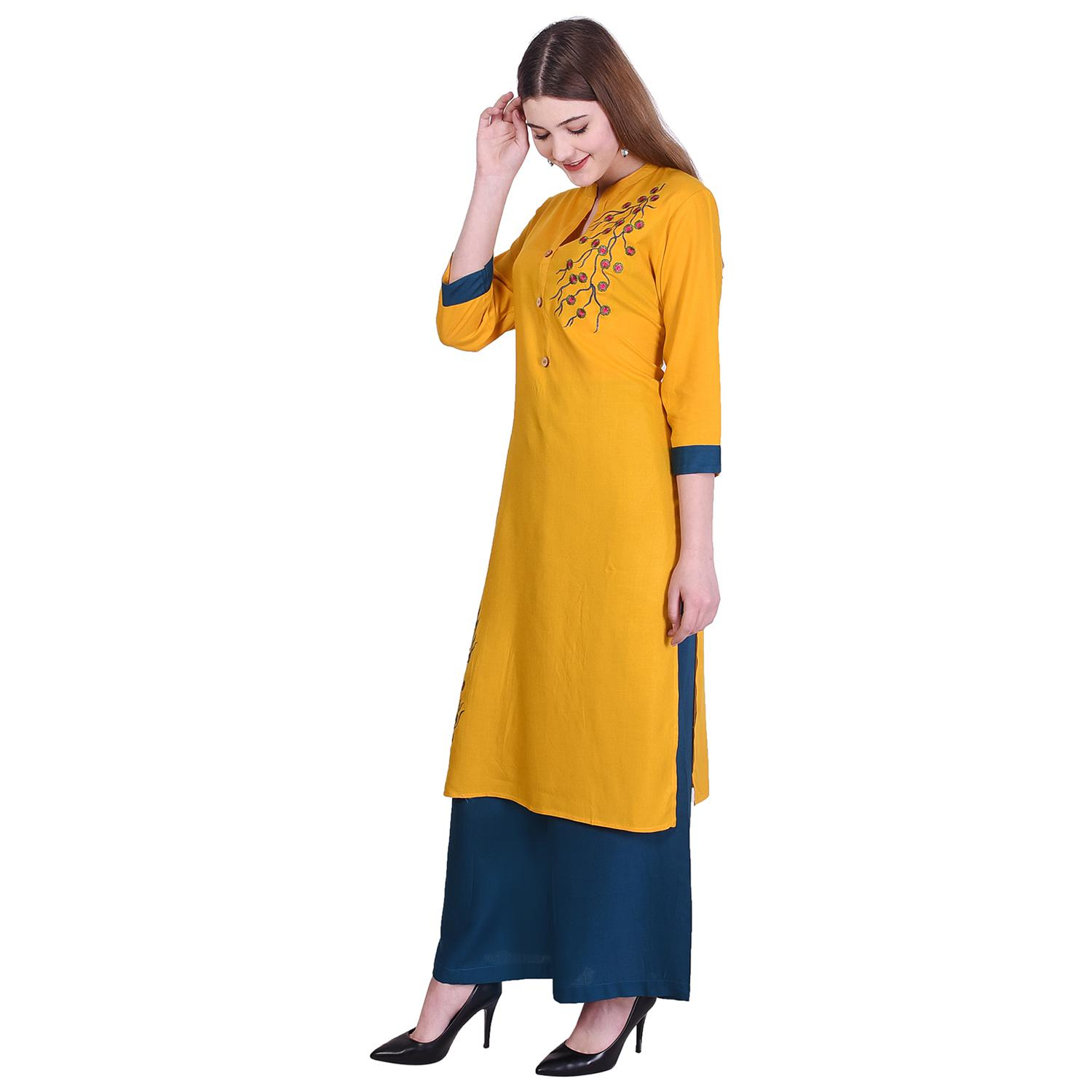 Pooja Fashion - Yellow Colored Casual Embroidered Cotton Kurti