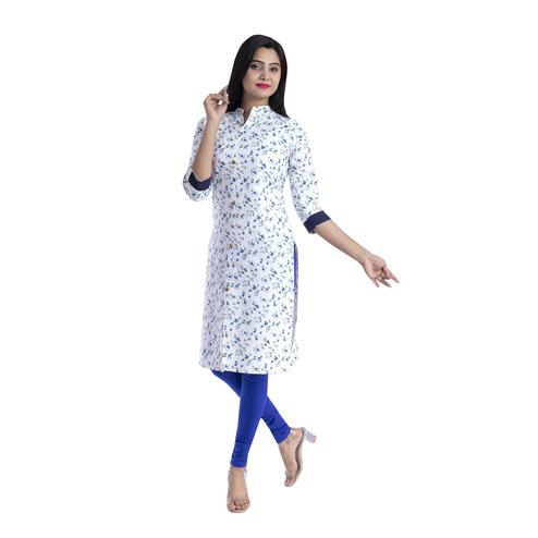 Pooja Fashion - White & Blue Colored Casual Floral Printed Cotton Kurti