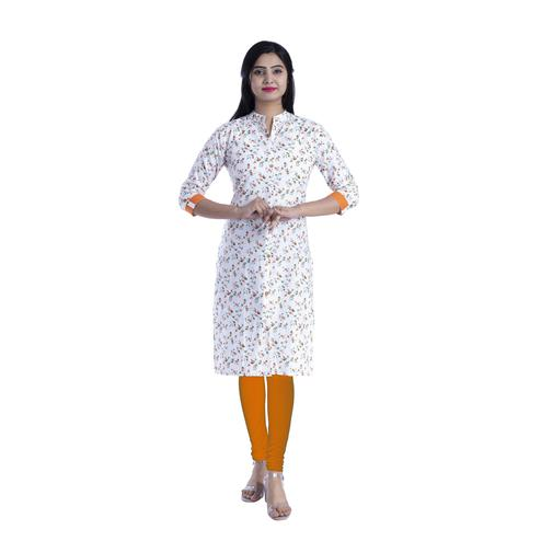 Pooja Fashion - White & Orange Colored Casual Floral Printed Cotton Kurti