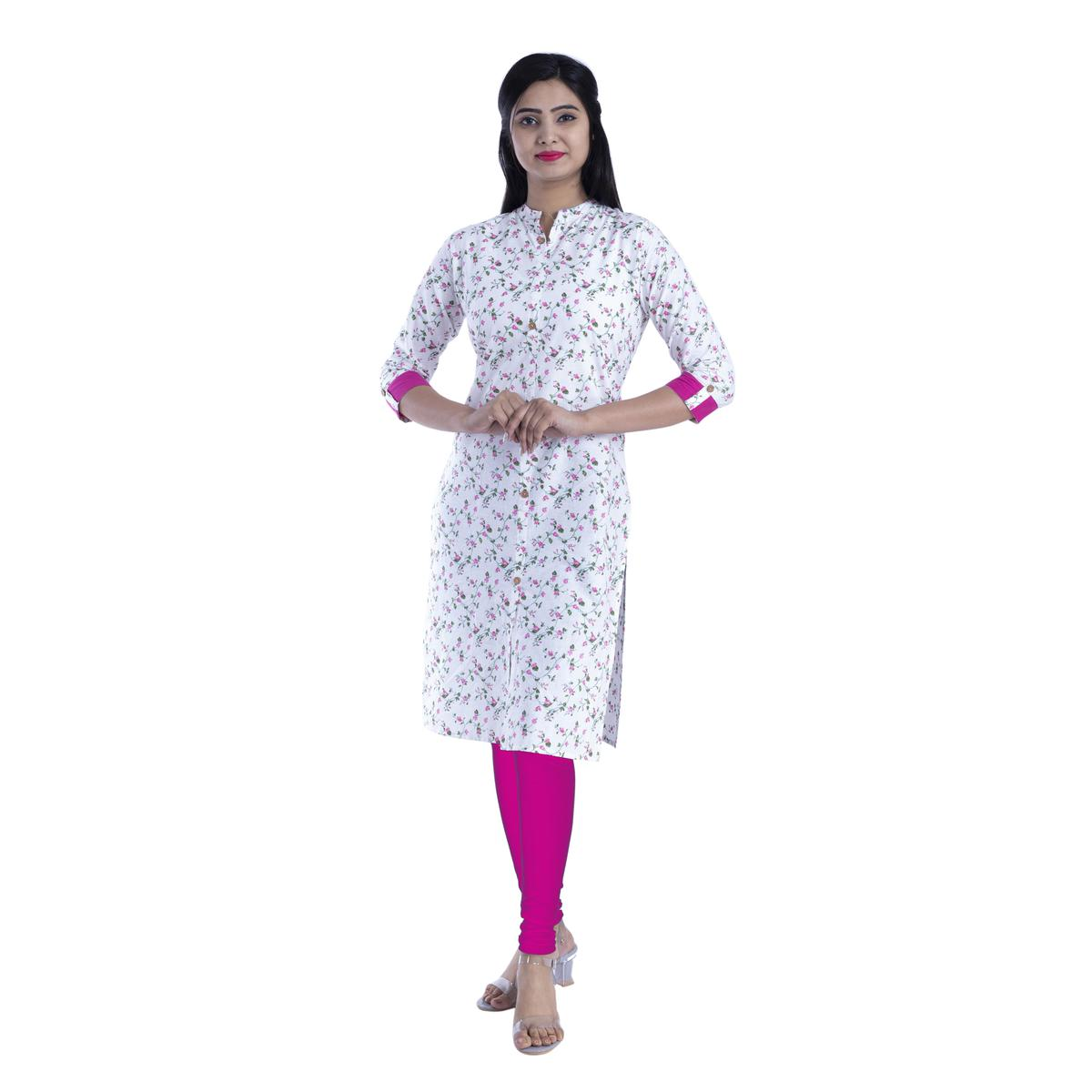 Pooja Fashion - White & Pink Colored Casual Floral Printed Cotton Kurti