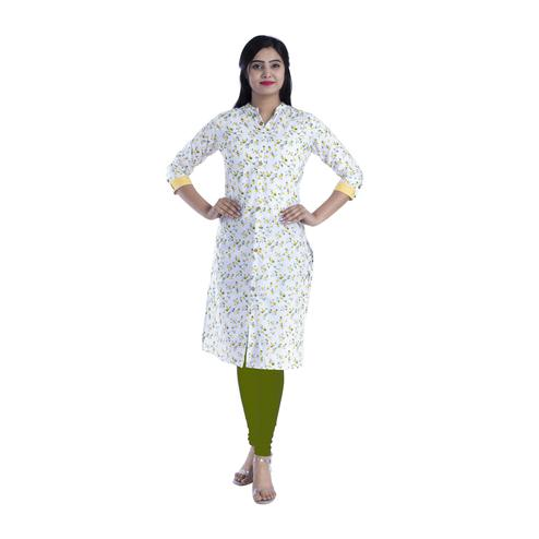 Pooja Fashion - White & Yellow Colored Casual Floral Printed Cotton Kurti