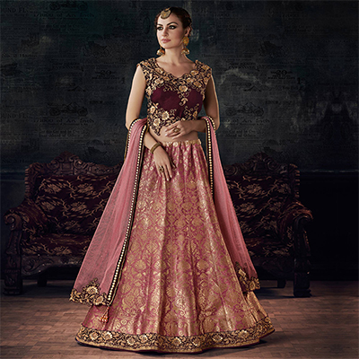 Hot Maroon-Pink Designer Embroidered Silk Woven Lehenga Choli