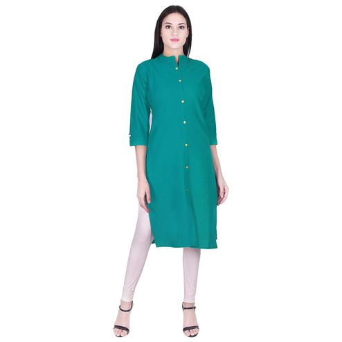Pooja Fashion - Sea Green Colored Casual Solid Cotton Kurti