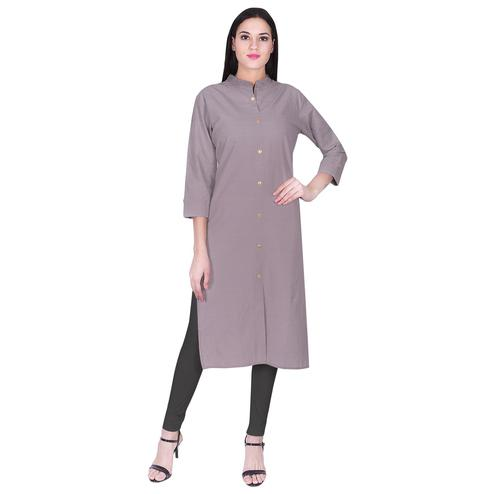 Pooja Fashion - Grey Colored Casual Solid Cotton Kurti