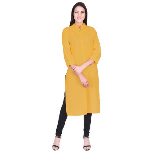 Pooja Fashion - Mustard Yellow Colored Casual Solid Cotton Kurti