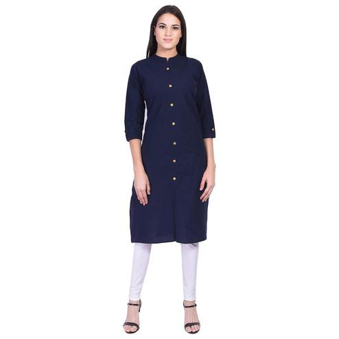 Pooja Fashion - Navy Blue Colored Casual Solid Cotton Kurti
