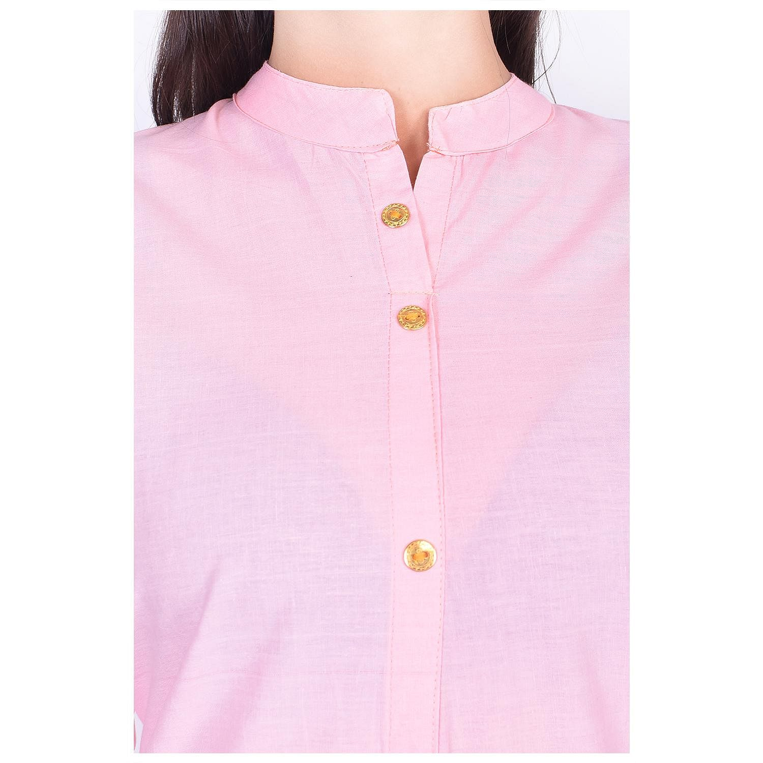 Pooja Fashion - Pink Colored Casual Solid Cotton Kurti