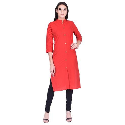 Pooja Fashion - Red Colored Casual Solid Cotton Kurti