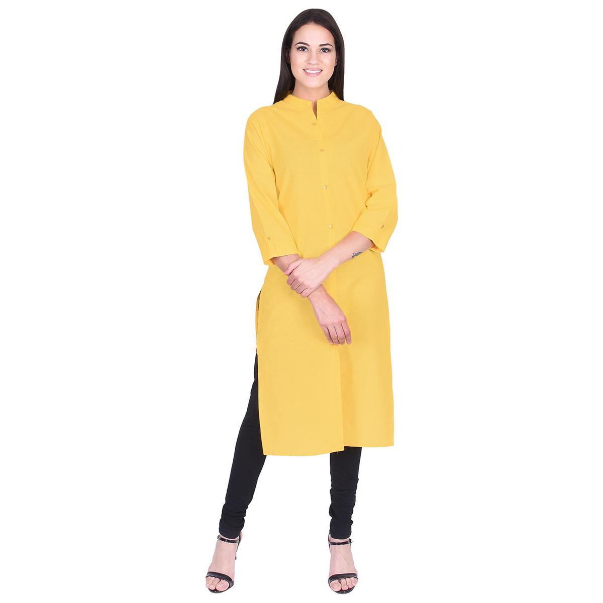 Pooja Fashion - Yellow Colored Casual Solid Cotton Kurti