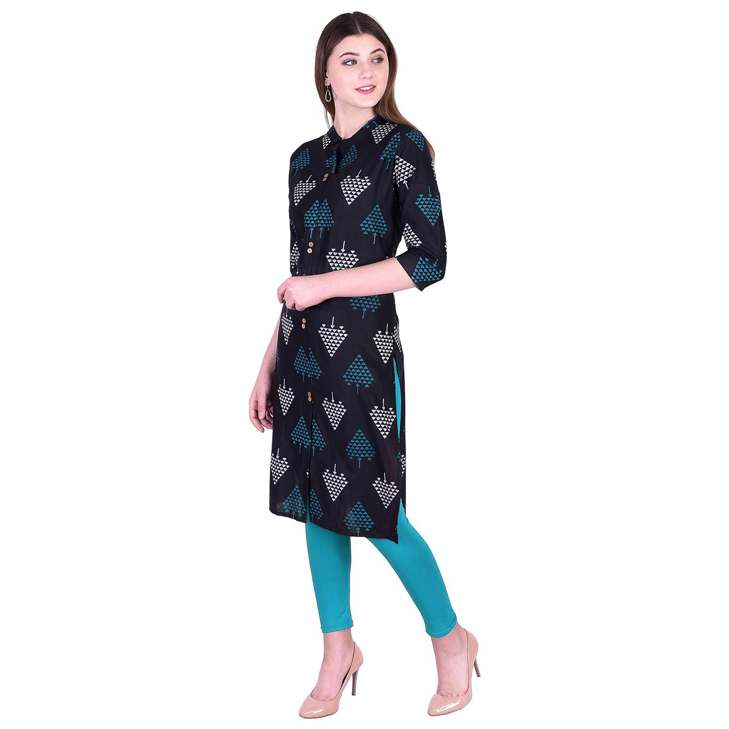 Pooja Fashion - Black Colored Casual Printed Cotton Kurti