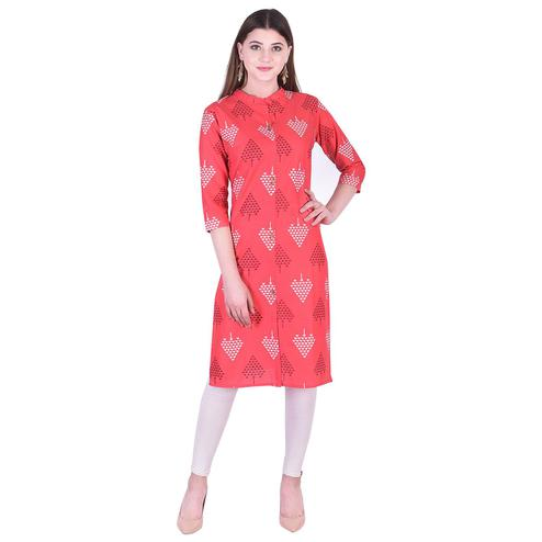 Pooja Fashion - Red Colored Casual Printed Cotton Kurti