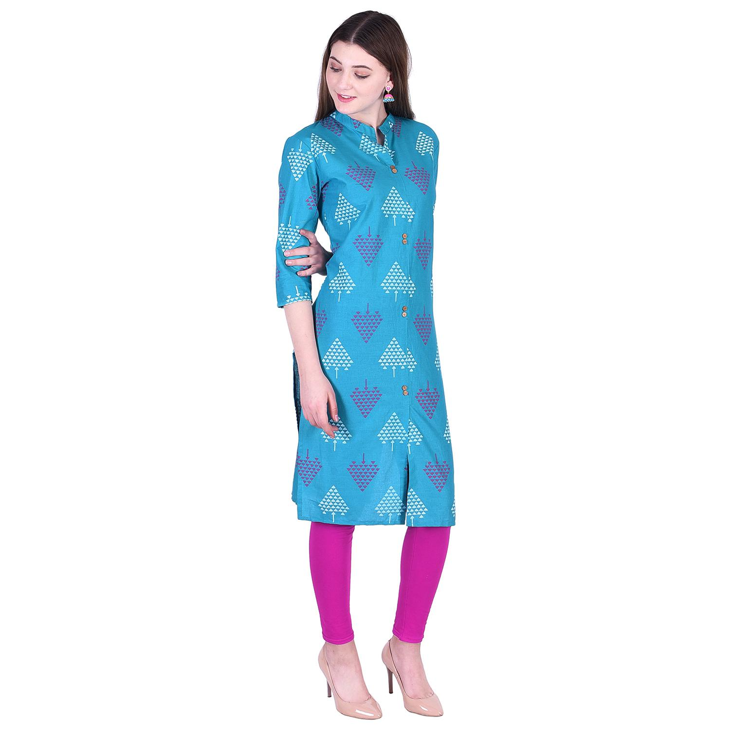 Pooja Fashion - Sky Blue Colored Casual Printed Cotton Kurti