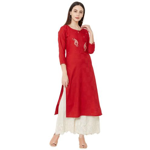 Intricate Red Colored Casual Wear Embroidered Straight Calf length Cotton Kurti