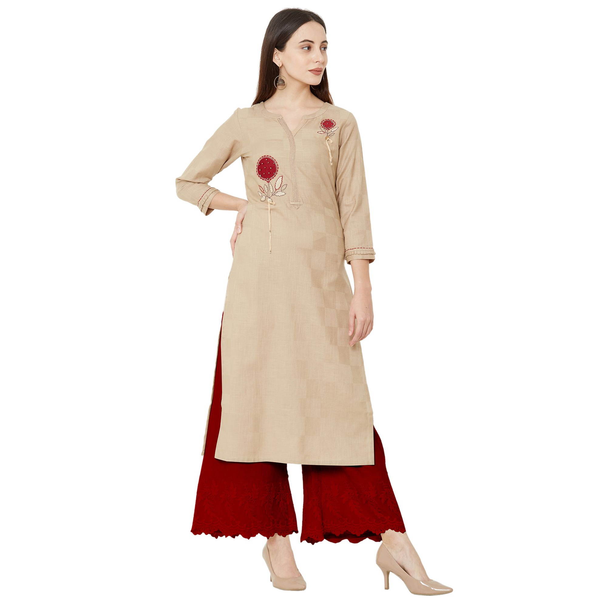 Arresting Beige Colored Casual Wear Embroidered Straight Calf length Cotton Kurti