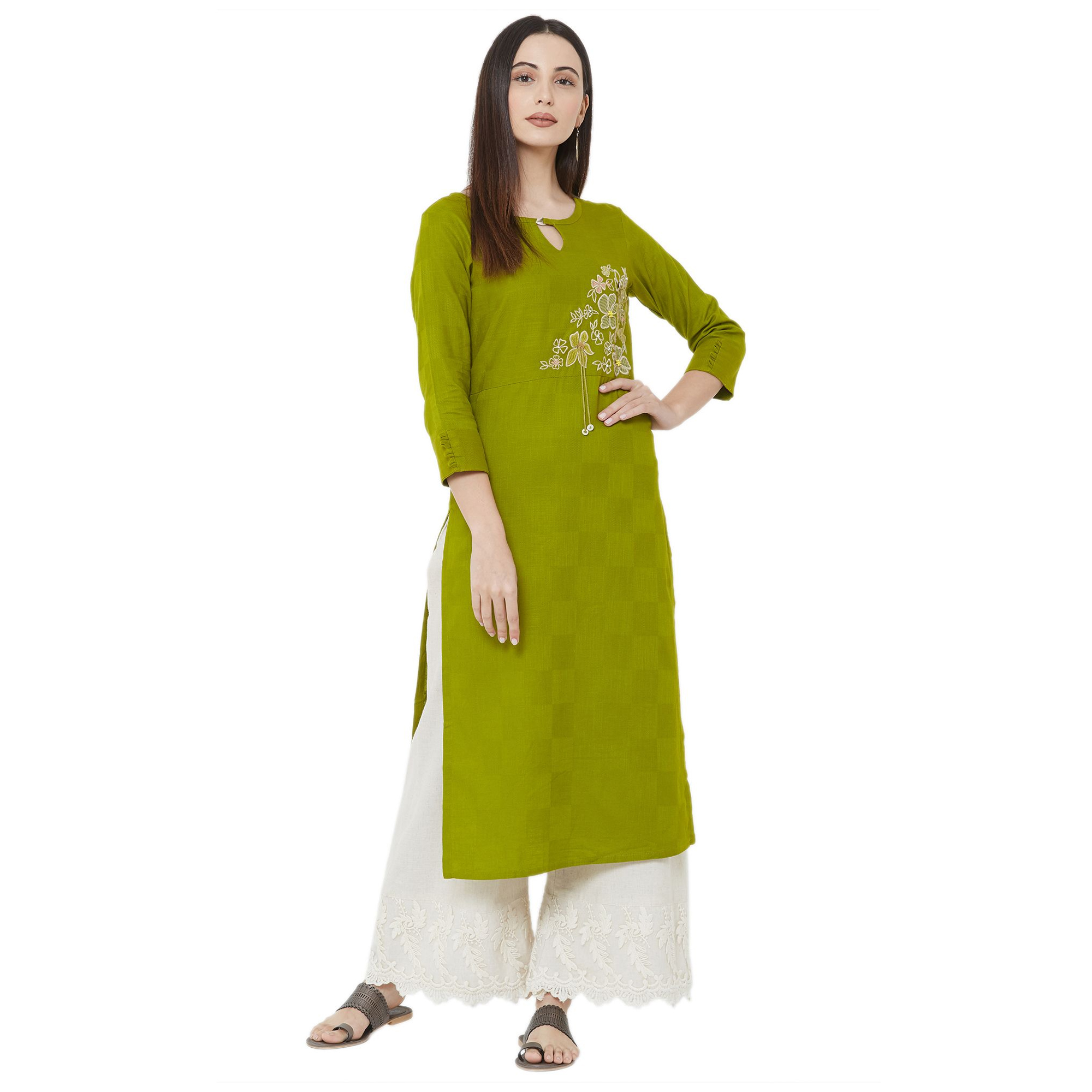 Desirable Olive Green Colored Casual Wear Embroidered Straight Calf length Cotton Kurti