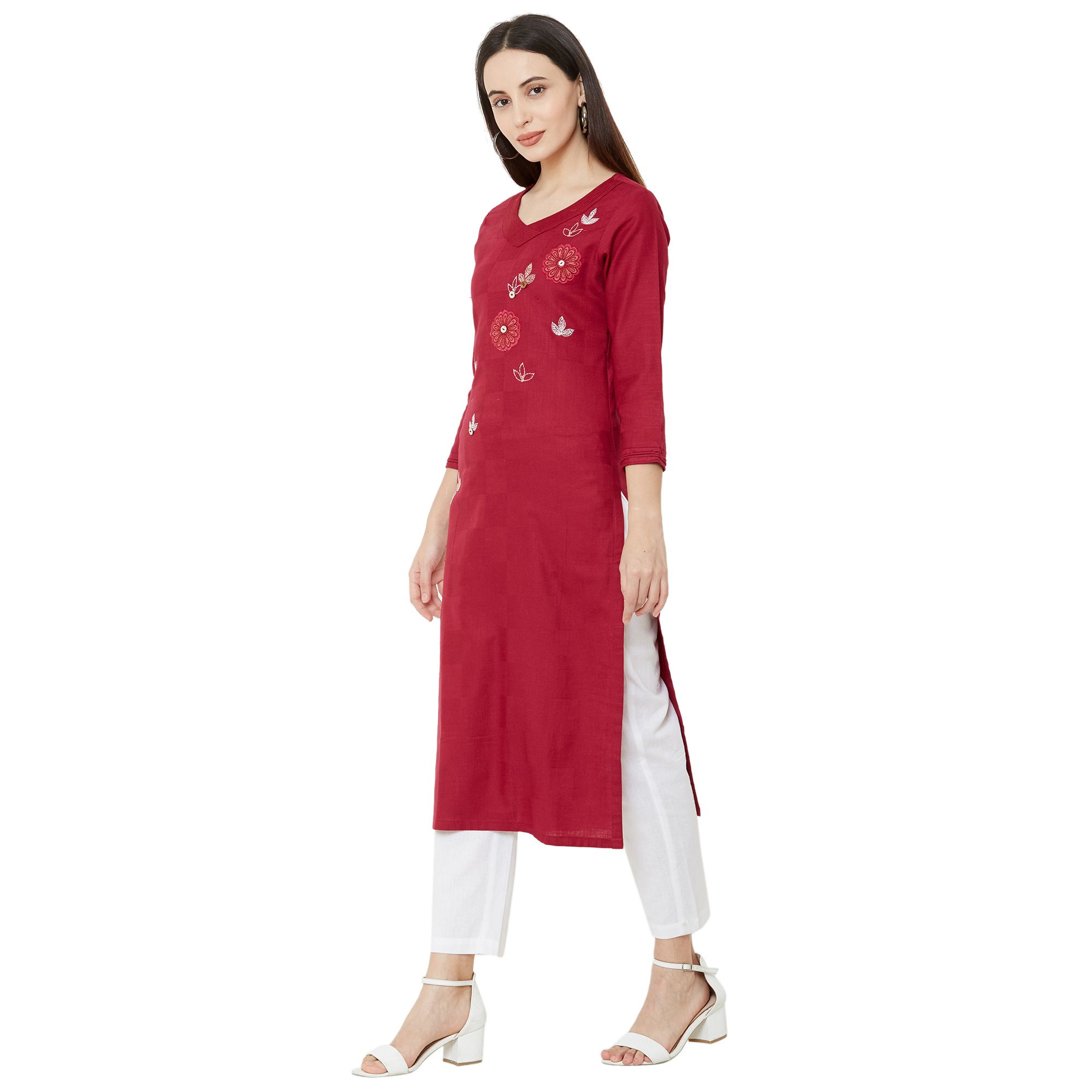 Exotic Maroon Colored Casual Wear Embroidered Straight Calf length Cotton Kurti
