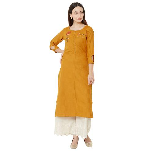 Trendy Mustard Yellow Colored Casual Wear Embroidered Straight Calf length Cotton Kurti