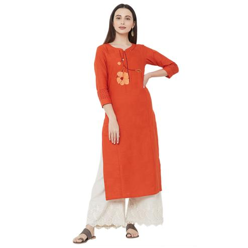 Elegant Orange Colored Casual Wear Embroidered Straight Calf length Cotton Kurti