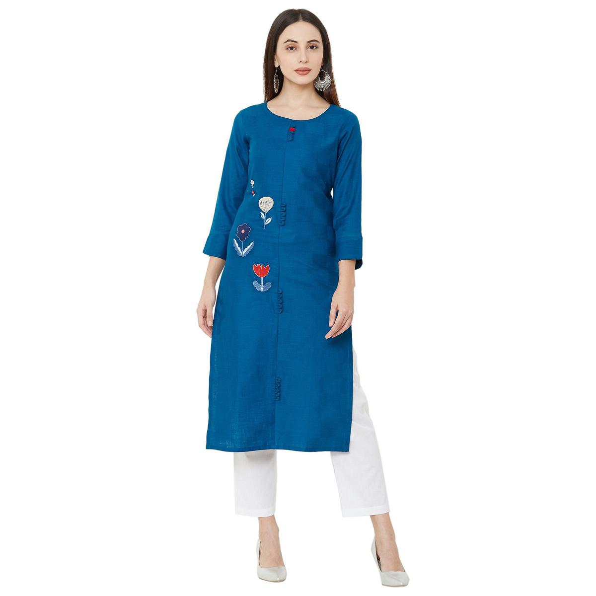 Radiant Blue Colored Casual Wear Embroidered Straight Calf length Cotton Kurti