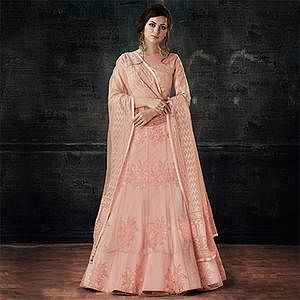 Elegant Peach Designer Embroidered Net Lehenga Choli