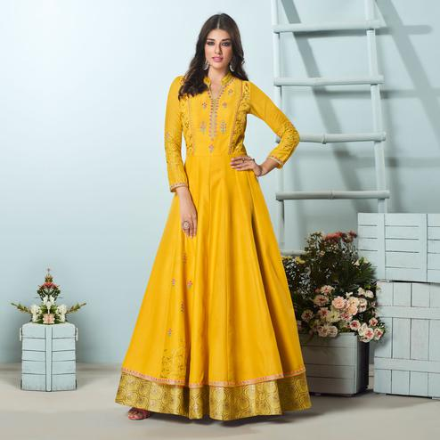 Classy Yellow Colored Party Wear Embroidered Muslin Cotton Silk Gown
