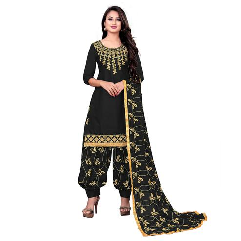 IRIS - Black Colored Party Wear Embroidered Cotton Dress Material
