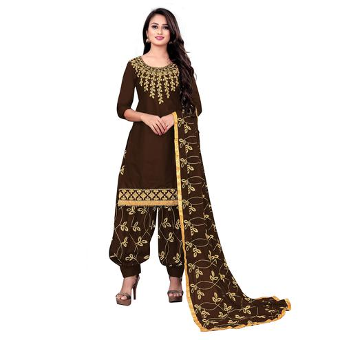 IRIS - Brown Colored Party Wear Embroidered Cotton Dress Material