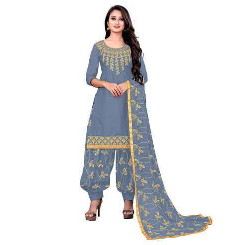 IRIS - Grey Colored Party Wear Embroidered Cotton Dress Material