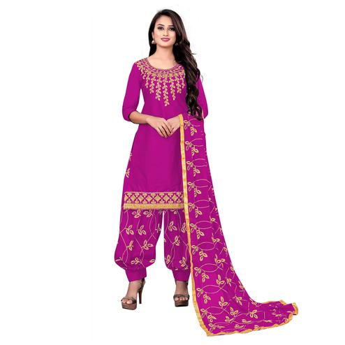 IRIS - Pink Colored Party Wear Embroidered Cotton Dress Material