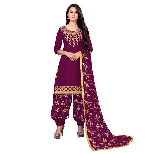IRIS - Purple Colored Party Wear Embroidered Cotton Dress Material