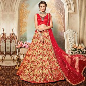 Hot Red Designer Embroidered Banarasi Silk Lehenga Choli