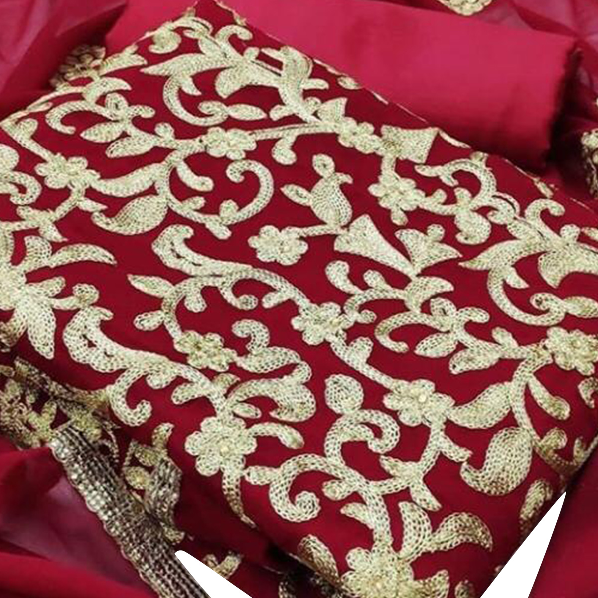 IRIS - Red Colored Party Wear Embroidered Cotton Dress Material