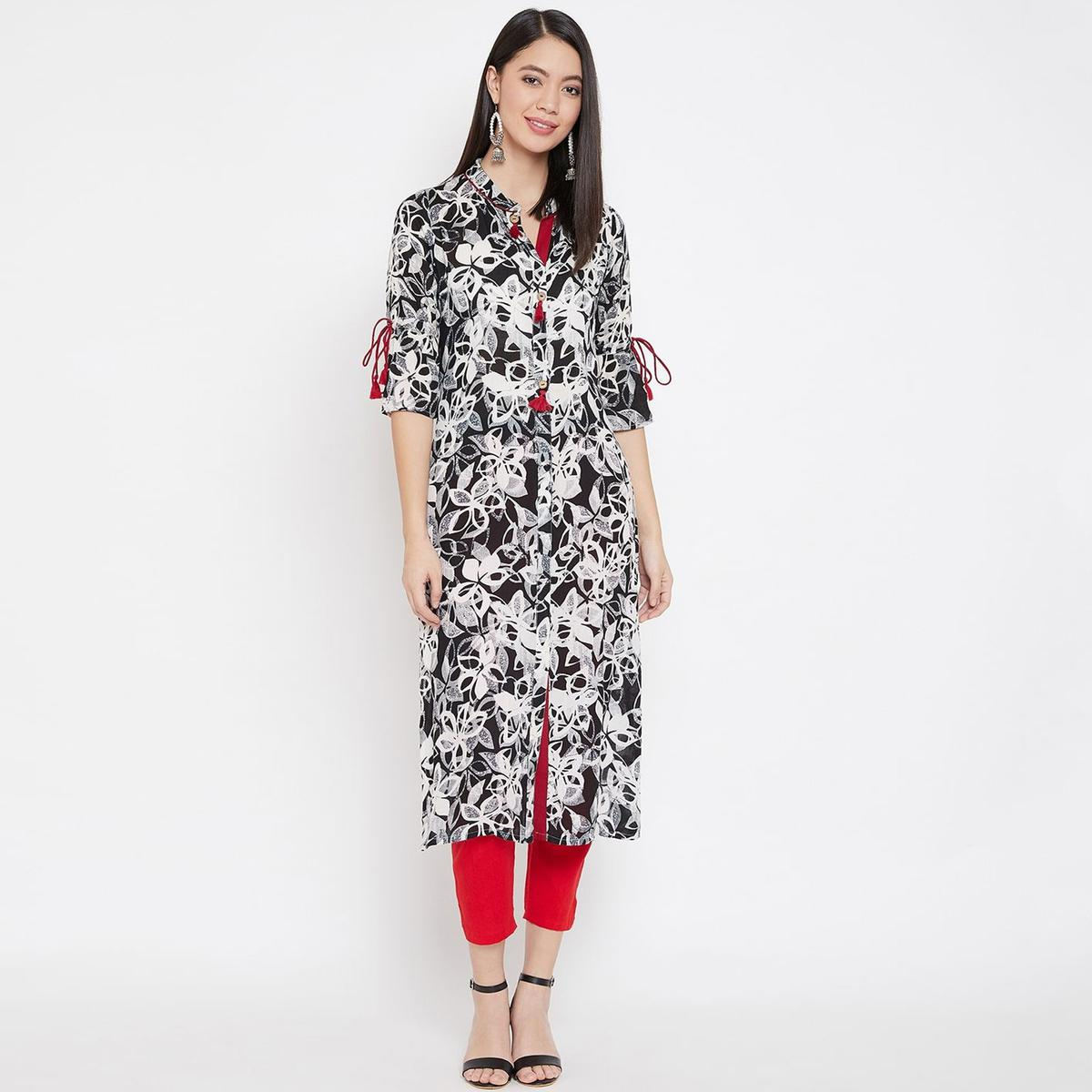 WineRed - Black Colored Casual Wear Floral Printed Straight Calf Length Rayon Kurti