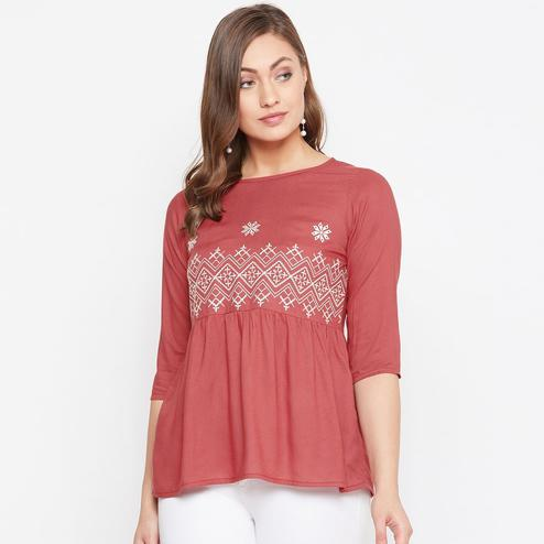 WineRed - Maroon Colored Casual Wear Embroidered A-Line Hip Length Rayon Western Top