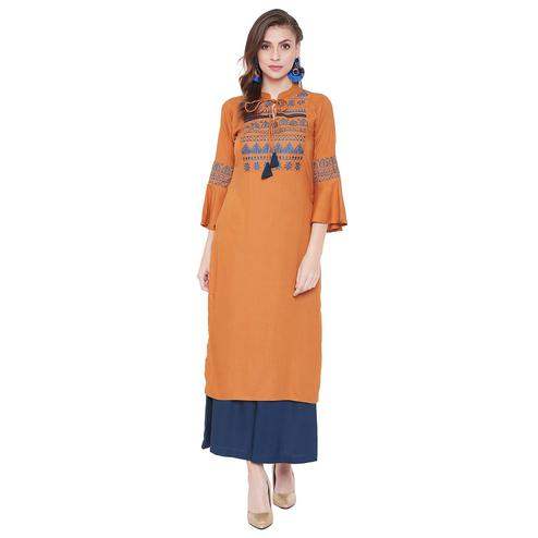 WineRed - Mustard Yellow Colored Casual Wear Embroidered Straight Calf Length Rayon Kurti
