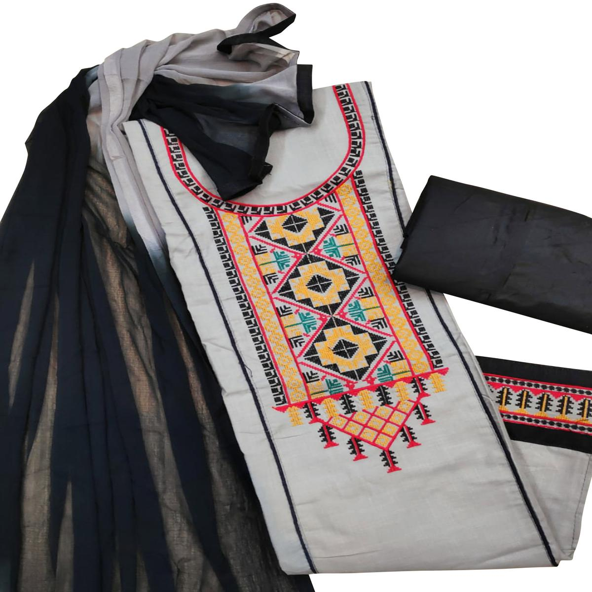 Adorable Grey Colored Partywear Embroidered Cotton Slub Dress Material