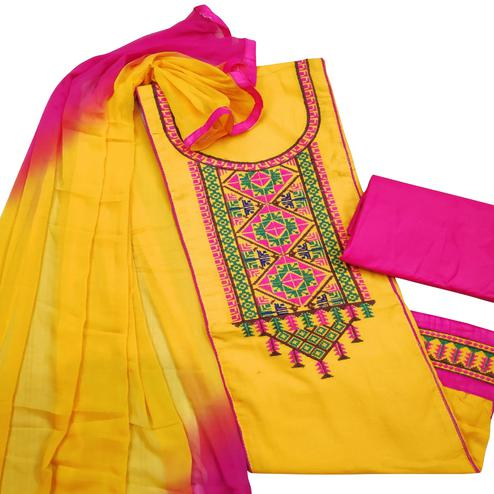 Attractive Yellow Colored Partywear Embroidered Cotton Slub Dress Material