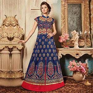 Charming Navy Designer Embroidered Raw Silk Lehenga Kameez