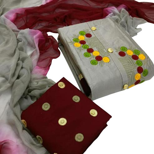 Delightful Grey Colored Partywear Embroidered Cotton Dress Material