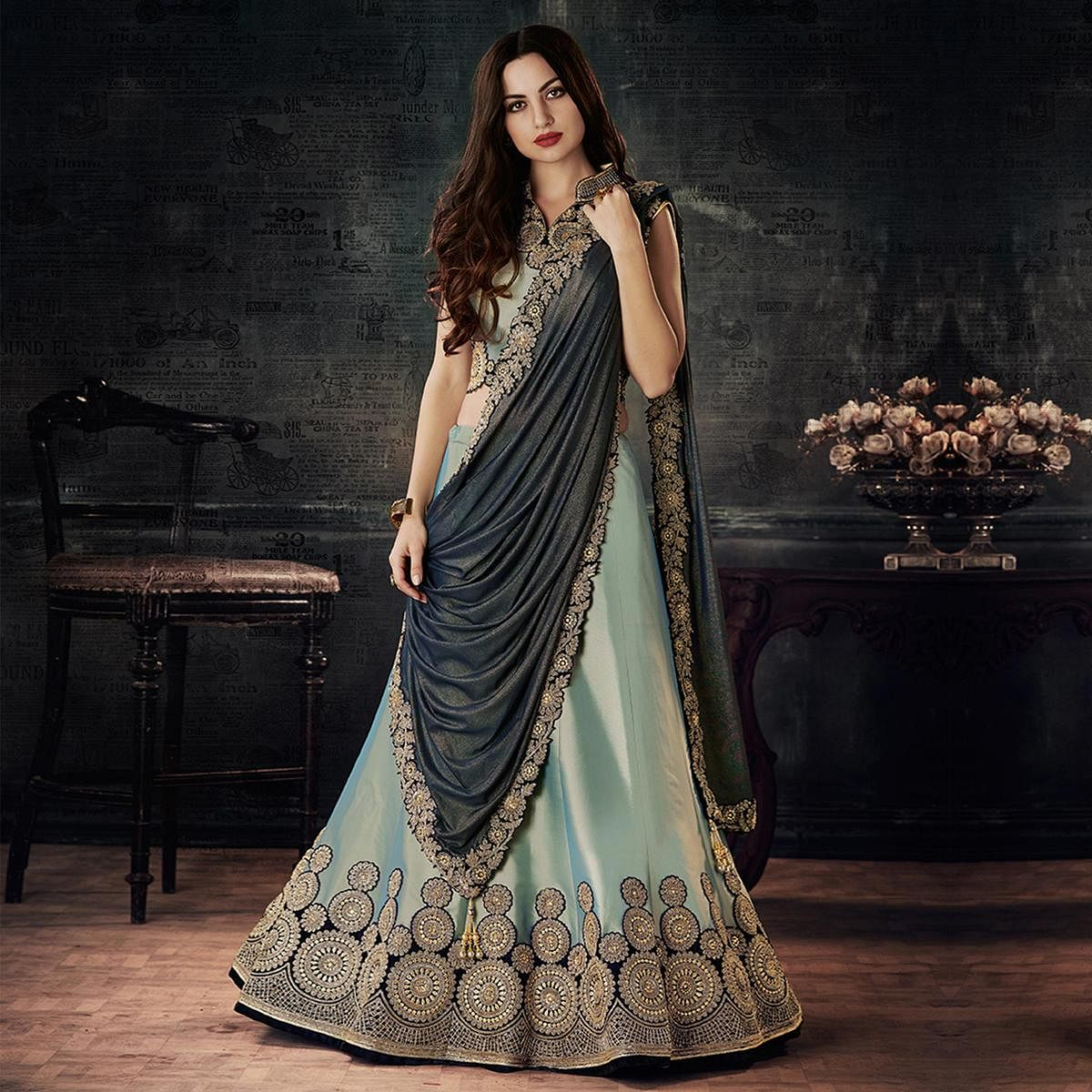 5a505af16 Buy Classy Gray-Black Designer Embroidered Taffeta Silk Lehenga Choli for  womens online India, Best Prices, Reviews - Peachmode
