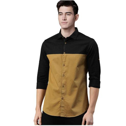 Intricate Black-Brown Colored Casual Wear Pure Cotton Shirt