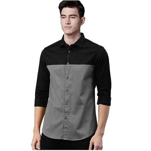 Arresting Black-Grey Colored Casual Wear Pure Cotton Shirt
