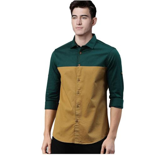 Desirable Green-Brown Colored Casual Wear Pure Cotton Shirt